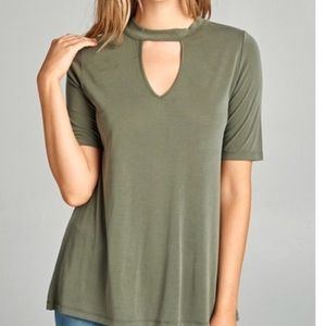 Tops - Last 1✨🆕Faith Olive Green Choker Top Tee Shirt